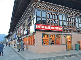 Shops in Paro, Bhutan. The cash crunch has seriously affected business. Photo: Ramesh Menon