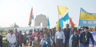 Differently-abled people celebrate World Disability Day at India Gate in New Delhi on December 3. Photo; UNI