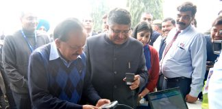 Union Minister for Electronics & IT and Law & Justice, Ravi Shankar Prasad and Harsh Vardhan, Minister for Science & Technology and Earth Sciences visiting the 'Digi Dhan Mela – an awareness camp' in New Delhi. Photo: UNI