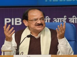 Union Minister for Information & Broadcasting and Urban Development and Housing & Urban Poverty Alleviation, M Venkaiah Naidu addressing a press conference on last 2.5 years achievements of the Government. Photo: UNI