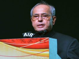 President Pranab Mukherjee addressing at the centenary celebration of the Federation of Telangana and Andhra Pradesh Chambers of Commerce & Industry, in Hyderabad. Photo: UNI