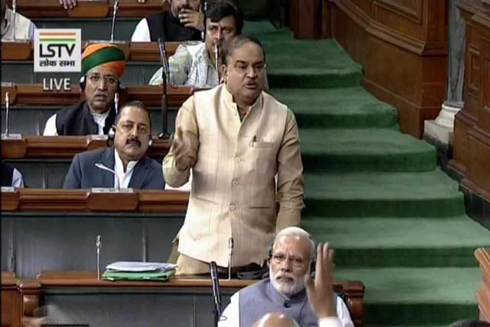 A TV grab shows Union Minister of Chemical and Fertilizer, Anant Kumar speaking in the recently-concluded winter session of Parliament. Photo: UNI
