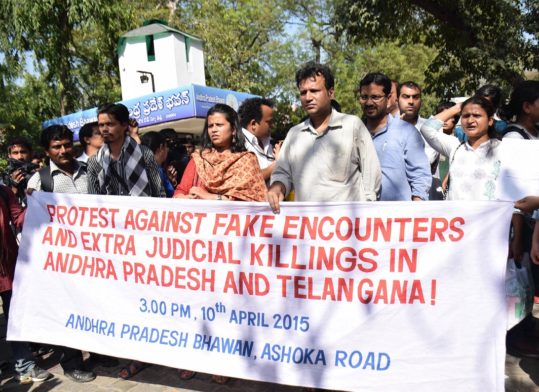 Members of the Delhi Solidarity Group participating in a demonstration in front of the Andhra Pradesh Bhavan protesting against the fake encounters and extra judicial killing in Andhra Pradesh and Telengana in New Delhi. Photo: UNI