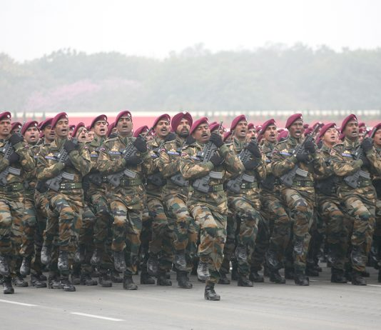 Army jawans taking part in Army Day parade, 2016 in New Delhi. Photo: Anil Shakya
