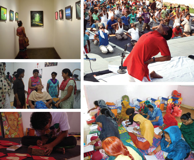 An exhibition of paintings by inmates of Gurugram prison; practising yoga; undergoing a literacy program; taking vocational training in art and craft and beautician courses.