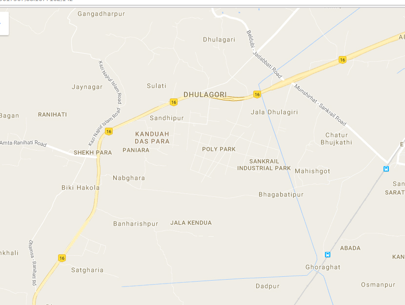 Dhulagarh (marked Dhulagori in map) is a small semi-industrial town in rural Howrah district. Photo: Google maps