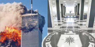 (L-R) September 11, 2001 terrorist attacks (photo YouTube); CIA headquarters in Virginia, US