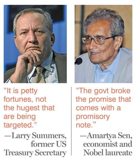 (L-R)Larry Summers, former US Treasury Secretary and Amartya Sen, economist and Nobel laureate