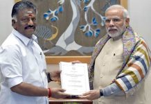 Tamil Nadu CM O Panneerselvam and PM Modi with the jallikattu ordinance in New Delhi. Photo: UNI