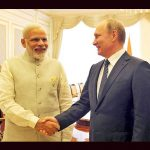 Prime Minister Narendra Modi with Vladimir Putin during the Shanghai Cooperation Organization summit in Tashkent, Uzbekistan, in June 2016. Photo: UNI