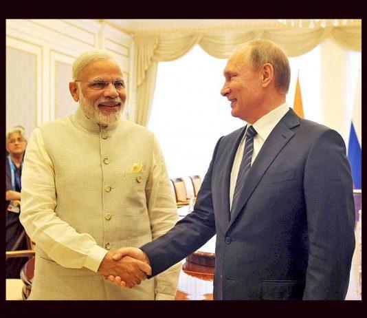 Prime Minister Narendra Modi with Vladimir Putin during the Shanghai Cooperation Organization summit in Tashkent, Uzbekistan, in June 2016. Photo: UNI