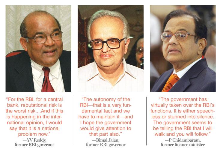 (L-R) YV Reddy, former RBI governor, Bimal Jalan, former RBI Governor, P Chidambaram, former finance minister.