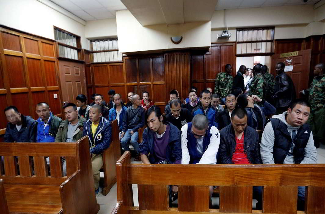 A group of Taiwanese and Chinese nationals arrested on suspicion of cyber crime were acquitted in Nairobi, Kenya, in August 2016. Photo: UNI