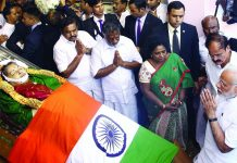 Prime Minister Narendra Modi paying tributes to the mortal remains of J Jayalalithaa, in Chennai. Photo: UNI