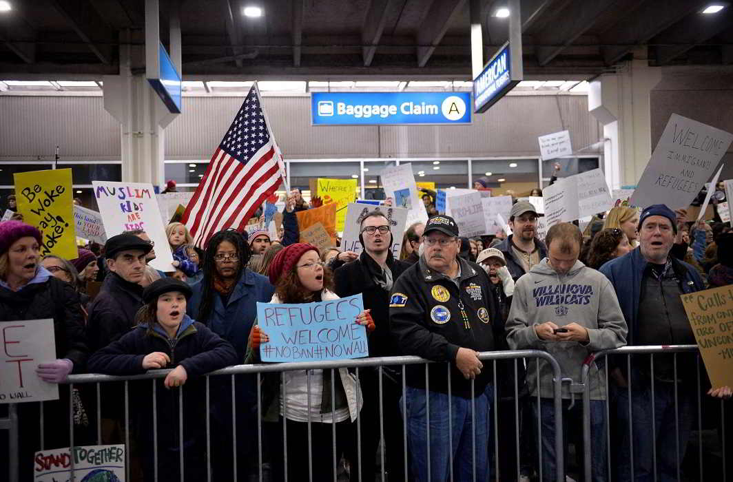 Anti-travel ban protestors outside Philadelphia Airport