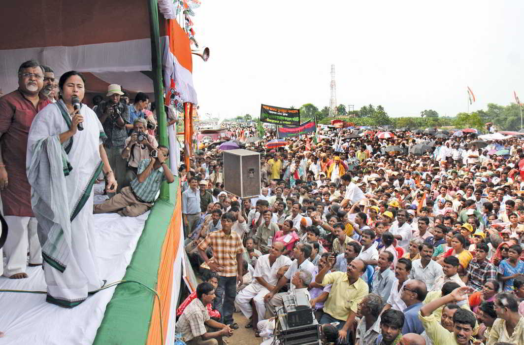 Mamata Banerjee at a Singur rally, one of few that formed the plinth of her political agitations in West Bengal