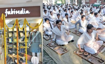 (L-R) A Fabindia store; Students of Gujarat Vidhyapith spining charkhas in Ahmedabad. Photos: UNI
