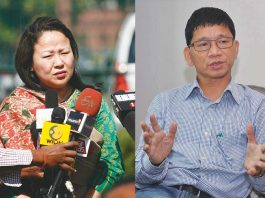 Kalikho Pul's (right) widow Dangwimsai interacting with media after withdrawing her petition before the Supreme Court. Photo Kalikho Pul: UNI. Photo Dangwimsai: Anil Shakya