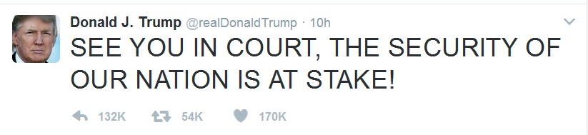 A grab of Donald J Trump's tweet after Temporary Restraint Order of Judge Robart was upheld by US Court of Appeals for the Ninth Circuit