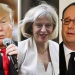 (L-R) US president Donald Trump, British Prime Minister Theresa May, French president Francois Hollande. Photos: UNI