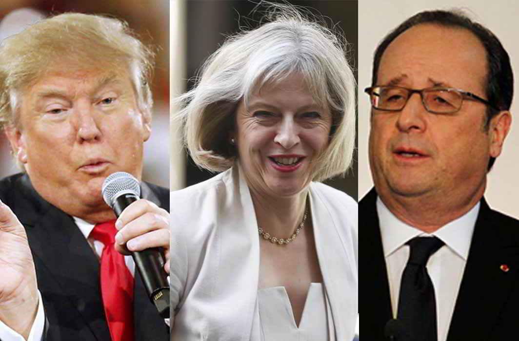 (L-R) US president Donald Trump, British Prime Minister Theresa May, French president Francois Hollande. Photos: UNI