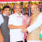 Manohar Parrikar with Amit Shah and Nitin Gadkari at his oath-taking as Goa's CM. Photo: www.BJP.org