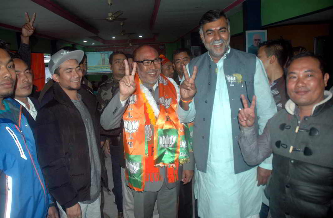 The Manipur unit of the BJP celebrating after the party came to power in the state. Photo: UNI