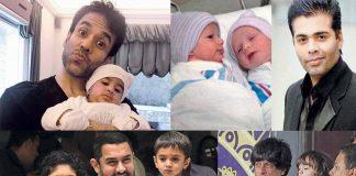 (Clockwise from top left) Tusshar Kapoor, Karan Johar, Aamir Khan and Shah Rukh Khan have had children through surrogate mothers