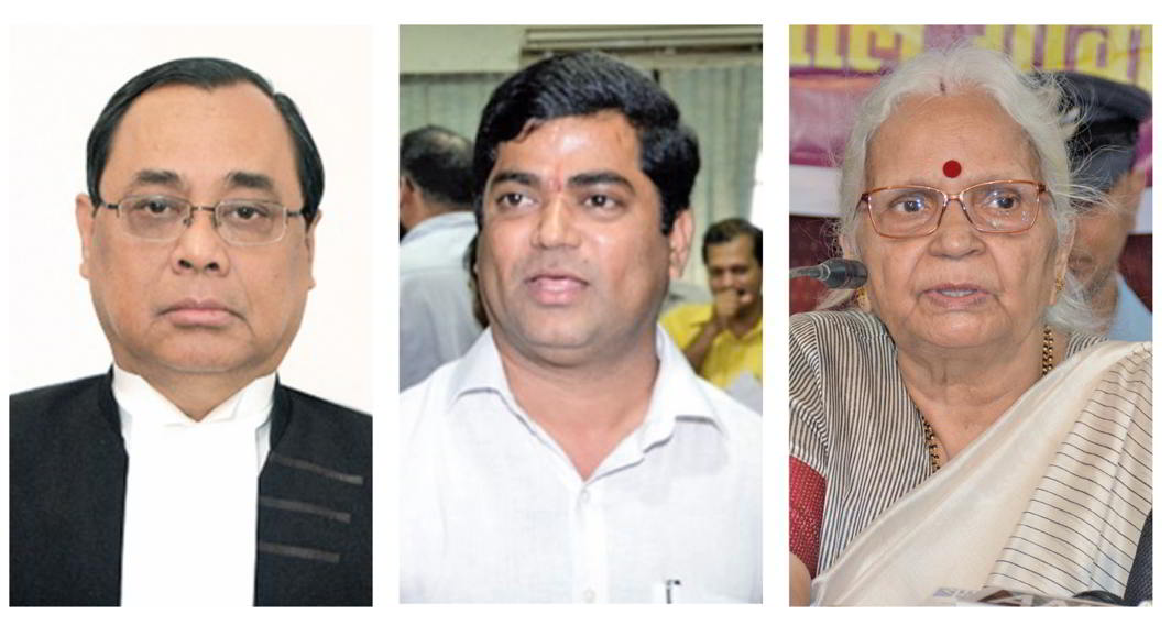 (L-R Justice) Ranjan Gogoi wondered on what grounds could the Supreme Court stay the swearing-in of the new government in Goa; Congress Legislature Party leader Chandrakant Kavlekar who filed the petition; and Goa governor Mridula Sinha
