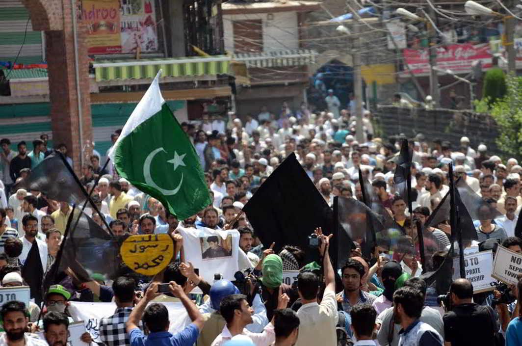 Pro-Pakistan protests in Srinagar. Photo: UNI