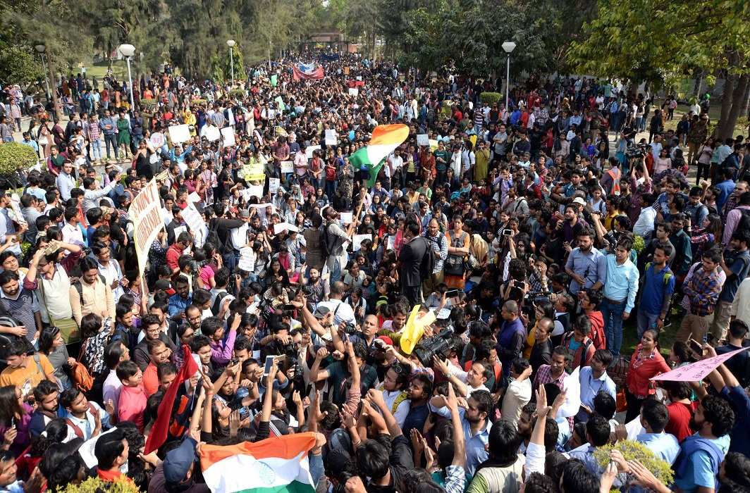 A massive turnout of students and activists at the protest rally in Delhi University on February 28. Photo: UNI