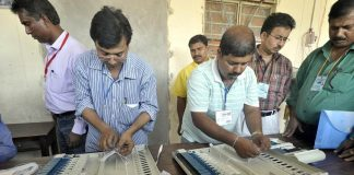 Electronic Voting Machines being commissioned by officials of the Electronics Corporation of India in Agartala. Photo: UNI