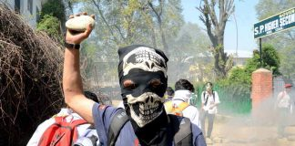 A student with a stone in his hand protesting against the security forces' recent action on students at Pulwama in South Kashmir. Photo: UNI