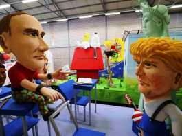 Papier mache caricatures depicting US President Donald Trump and Russian President Vladimir Putin. Photo: UNI