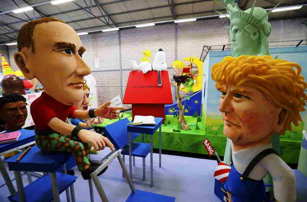 Papier mache caricatures depicting US President Donald Trump and Russian President Vladimir Putin. Photo: UNI