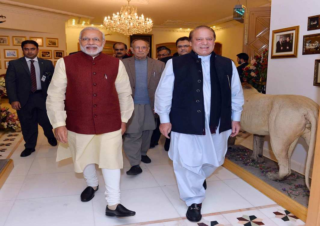 Narendra Modi with Nawaz Sharif during his impromptu visit to Lahore in 2015