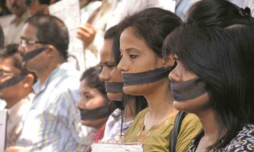 Journalists at a demonstration outside Guwahati Press Club demanding security. Photo: UNI
