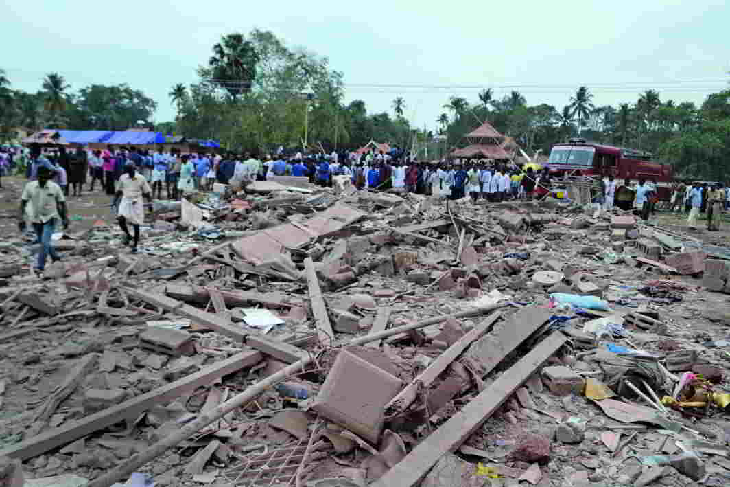 A collapsed structure in Puttingal Temple premises after fireworks exploded in 2016, killing over 100 people. Photo: UNI
