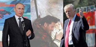 The chemical attack on civilians in Syria (centre) elicited confused response from Donald Trump (right) vis-à-vis Russian President Putin (left) and Syrian president Assad. Photos: UNI