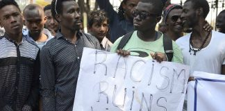African students protesting after several students of their community were beaten up in Greater Noida. Photo: twitter