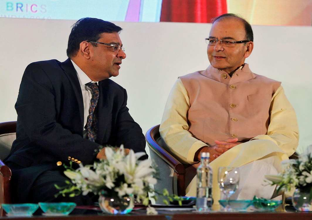 Reserve Bank of India Governor Urjit Patel with Finance Minister Arun Jaitley (right) at a seminar in Mumbai. Photo: UNI