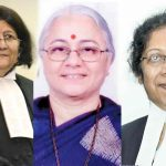 (L-R) Justice Indira Banerjee, chief justice of the Madras High Court; Justice NN Mhatre, acting chief justice of the Calcutta High Court; Justice Manjula Chellur, chief justice of the Bombay High Court