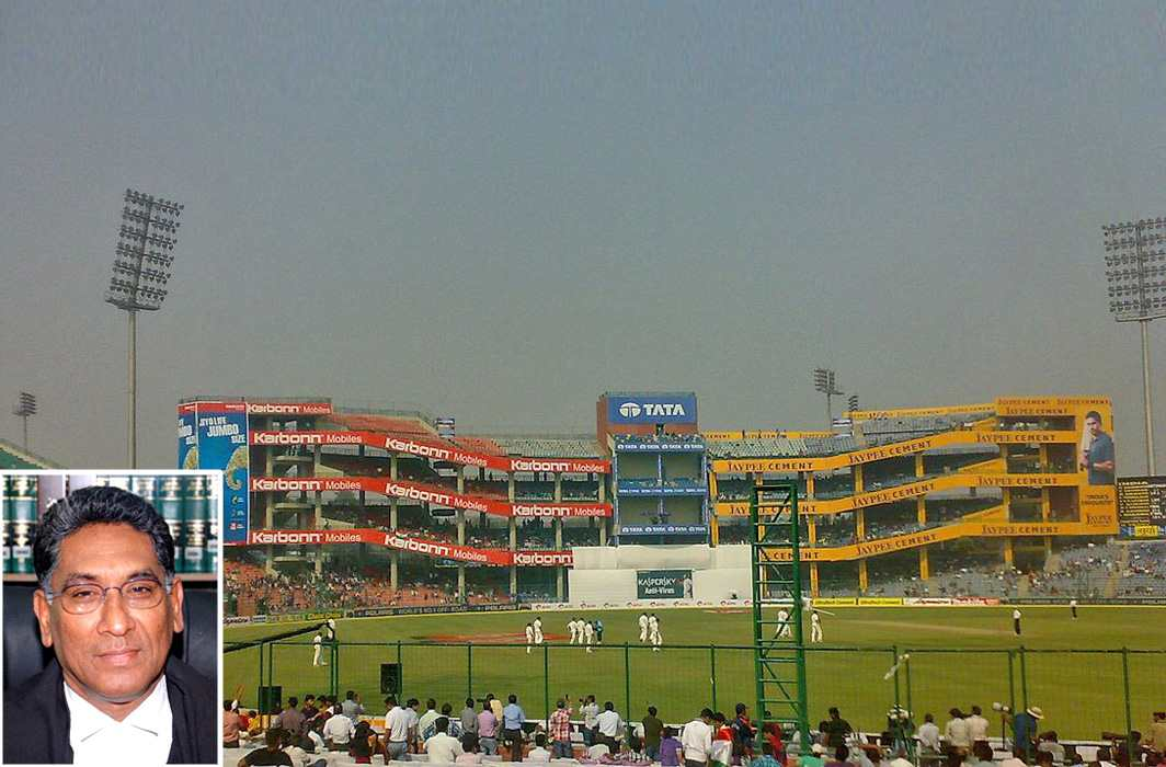 An inside view of Ferozshah Kotla stadium managed by DDCA. Photo: wikipedia; (inset) Justice Vikramajit Sen