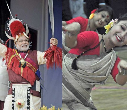 (L-R) A file photograph of PM Modi at the Hornbill Festival in Nagaland as part of his North-east initiative; Artists performing Bihu dance at an event in Guwahati. Photos: UNI