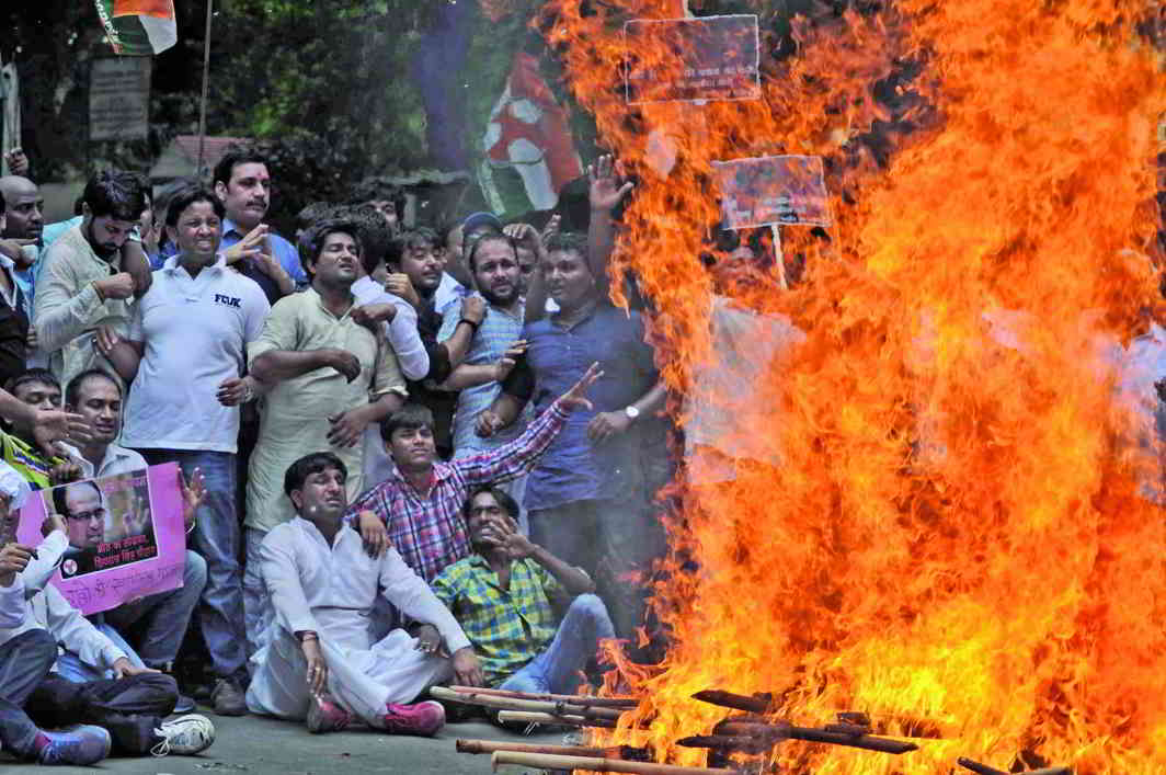 Congress activists protesting against the Vyapam scam at Jantar Mantar, New Delhi. Photo: UNI