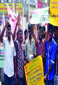 Democratic Youth Federation of India demonstration against the killing of a Dalit who married a Hindu in Chennai