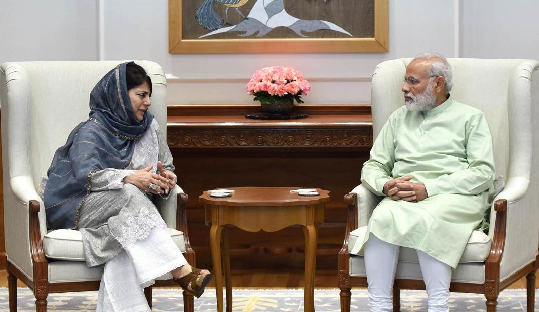 The Chief Minister of Jammu and Kashmir, Mehbooba Mufti calling on the Prime Minister, Narendra Modi, in New Delhi. Photo: UNI