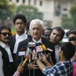 Amicus curiae Salman Khurshid briefing media persons on the last day of Triple Talaq hearing. Photo: Anil Shakya