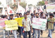 Activists of the Democratic Youth Federation of India staging a demonstration in Chennai to condemn the killing of a Dalit youth who had married a caste Hindu girl. Photo: UNI
