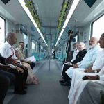 Prime Minister Narendra Modi and other dignitaries take a ride on Kochi Metro, in Kerala on Saturday. Photo: UNI